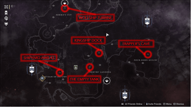 The Tangled Shore Lost Sector Map