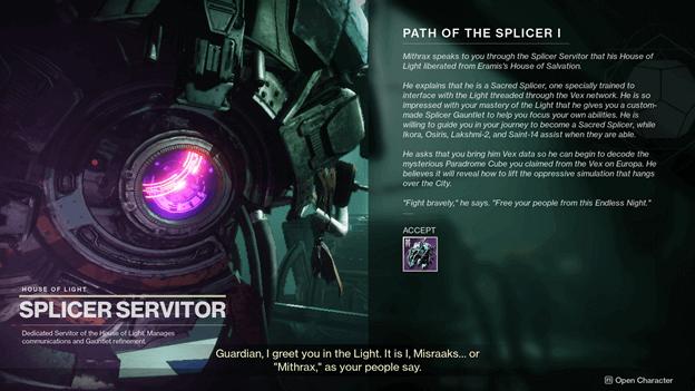 Destiny 2 Path of The Splicer I Quest