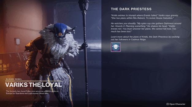 Destiny 2 The Dark Priestess Quest